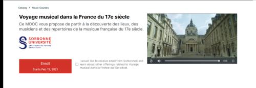 """Capture d'écran du site internet du MOOC """"Voyage musical dans la France du 17e siècle""""."""